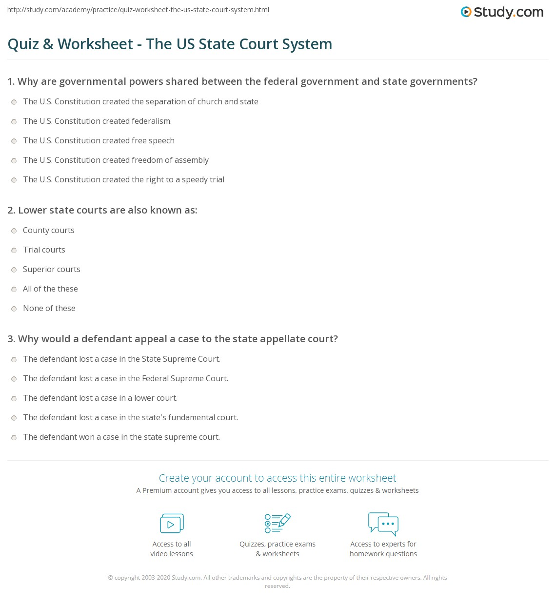 quiz worksheet the us state court system. Black Bedroom Furniture Sets. Home Design Ideas