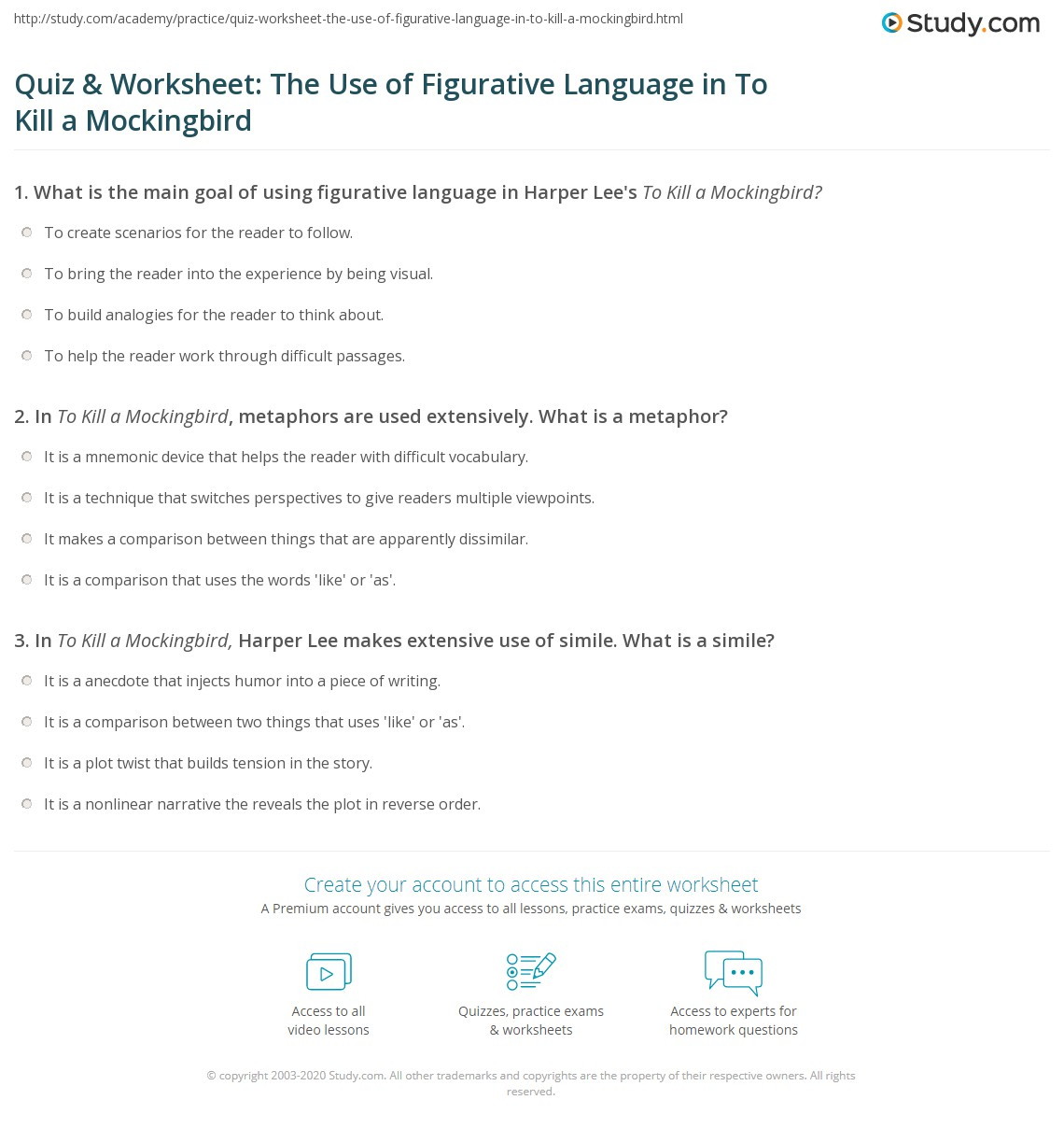 Quiz Worksheet The Use Of Figurative Language In To Kill A