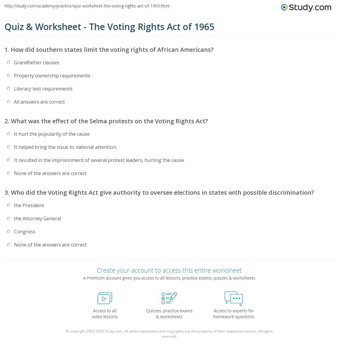 Civil rights worksheets high school