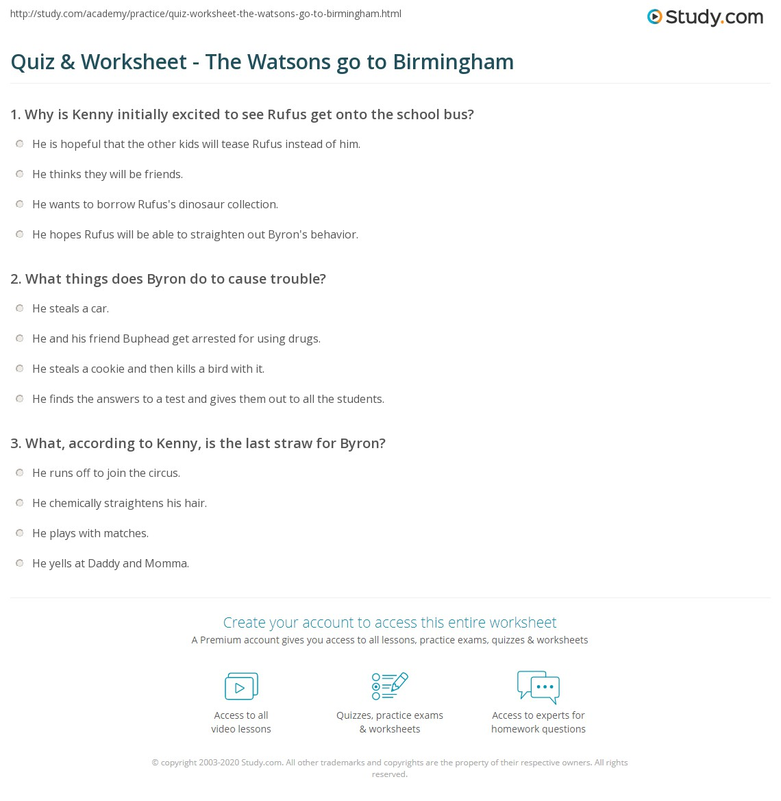 quiz worksheet the watsons go to birmingham. Black Bedroom Furniture Sets. Home Design Ideas