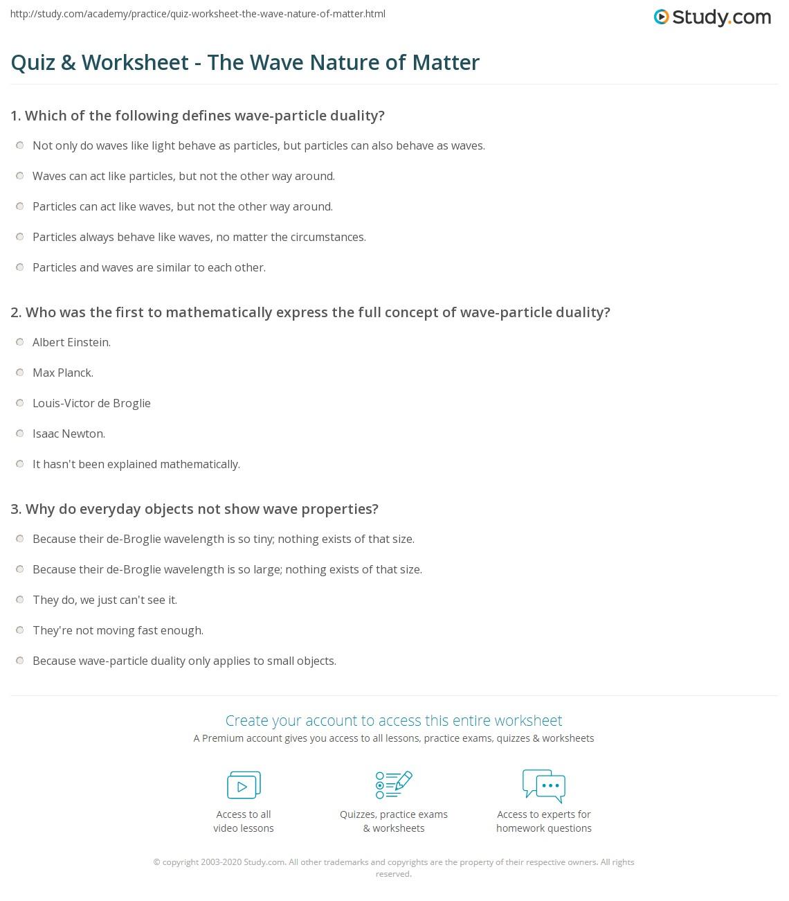 Uncategorized Wave Properties Worksheet quiz worksheet the wave nature of matter study com print worksheet