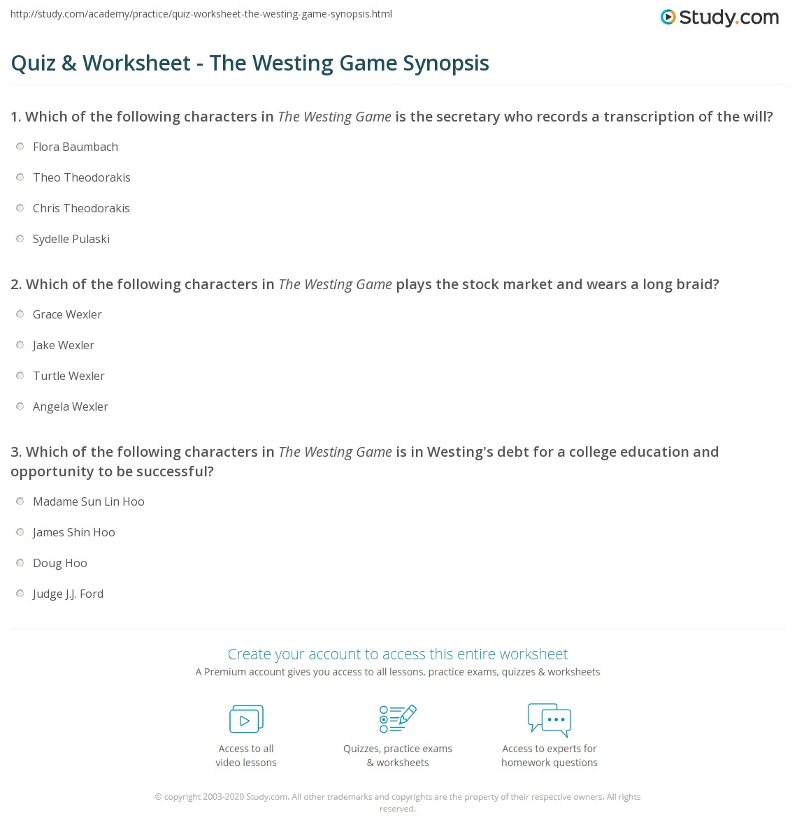 Quiz & Worksheet - The Westing Game Synopsis | Study.com