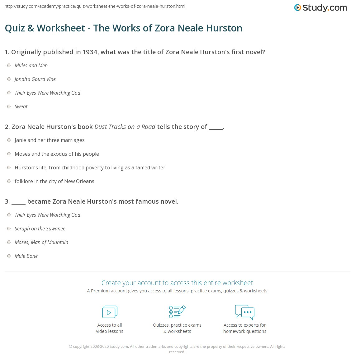 quiz worksheet the works of zora neale hurston com print zora neale hurston books poems worksheet
