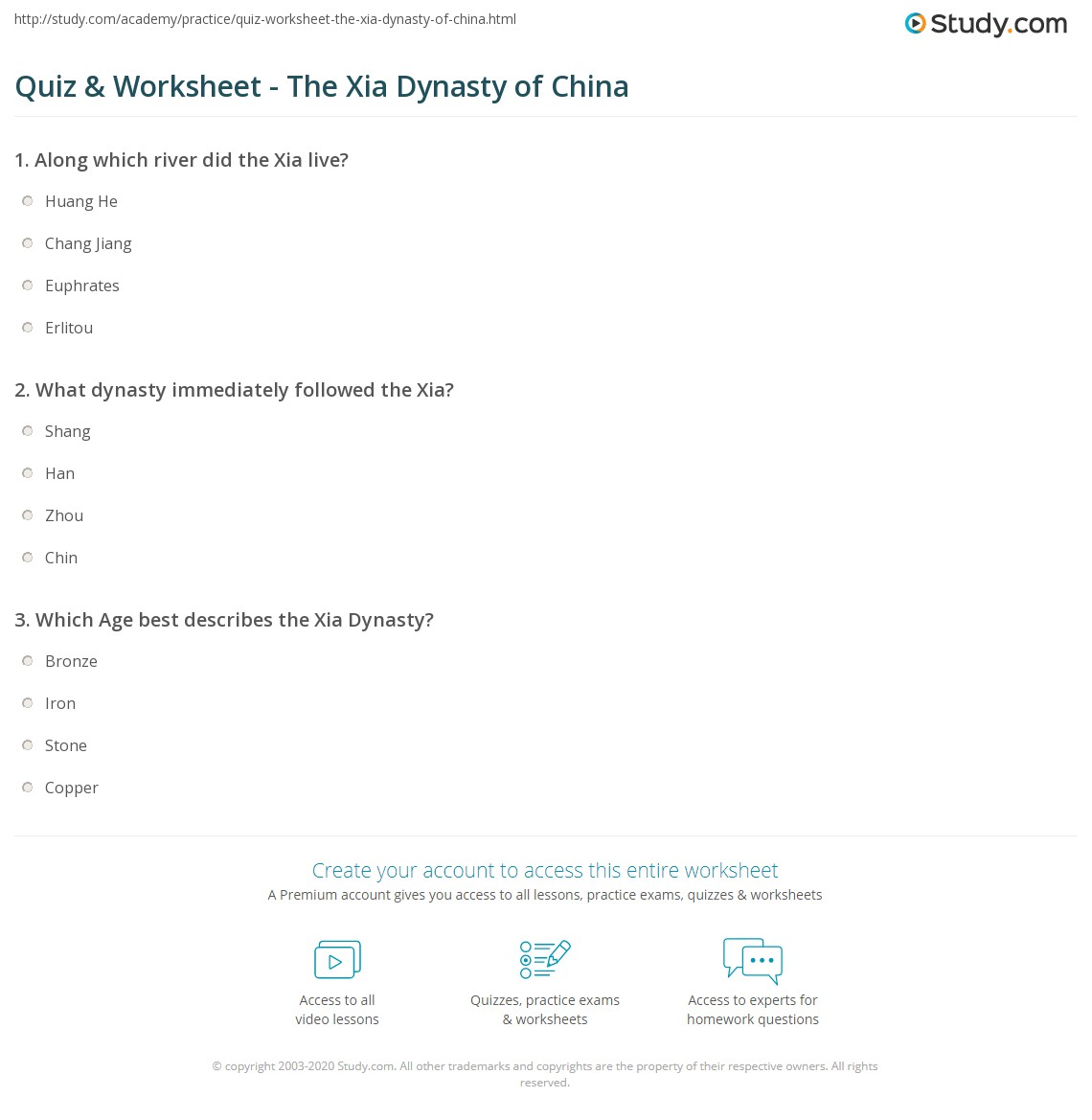 Quiz worksheet the xia dynasty of china study what dynasty immediately followed the xia sciox Image collections