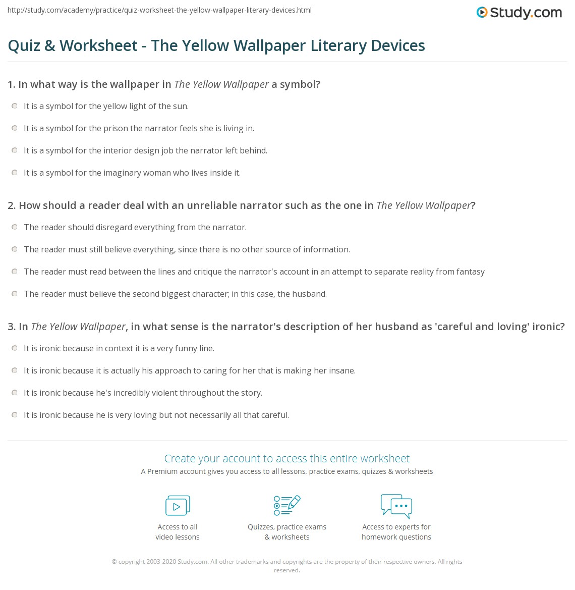 Quiz Worksheet The Yellow Wallpaper Literary Devices Study