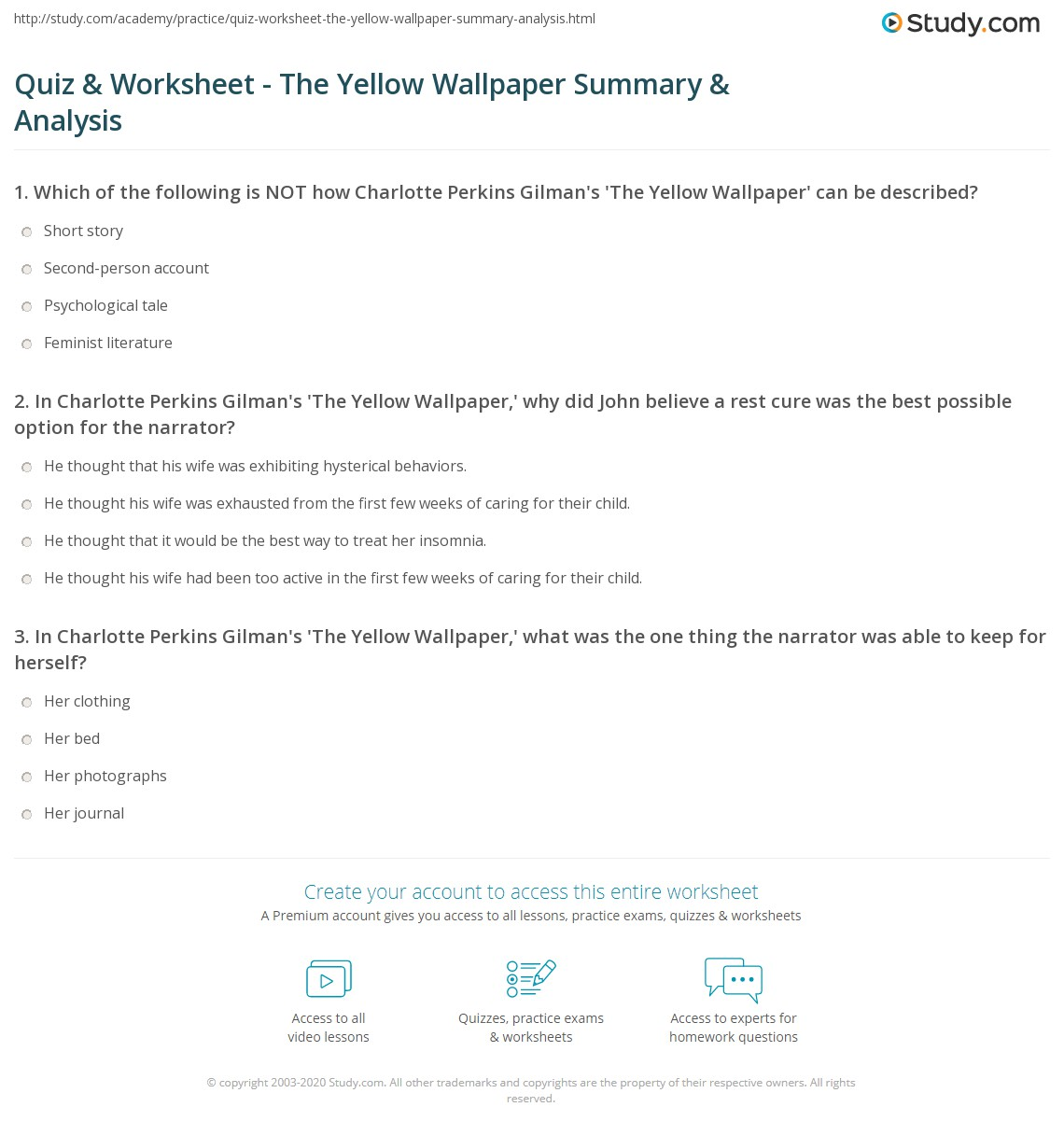 print charlotte perkins gilmans the yellow wallpaper summary analysis worksheet