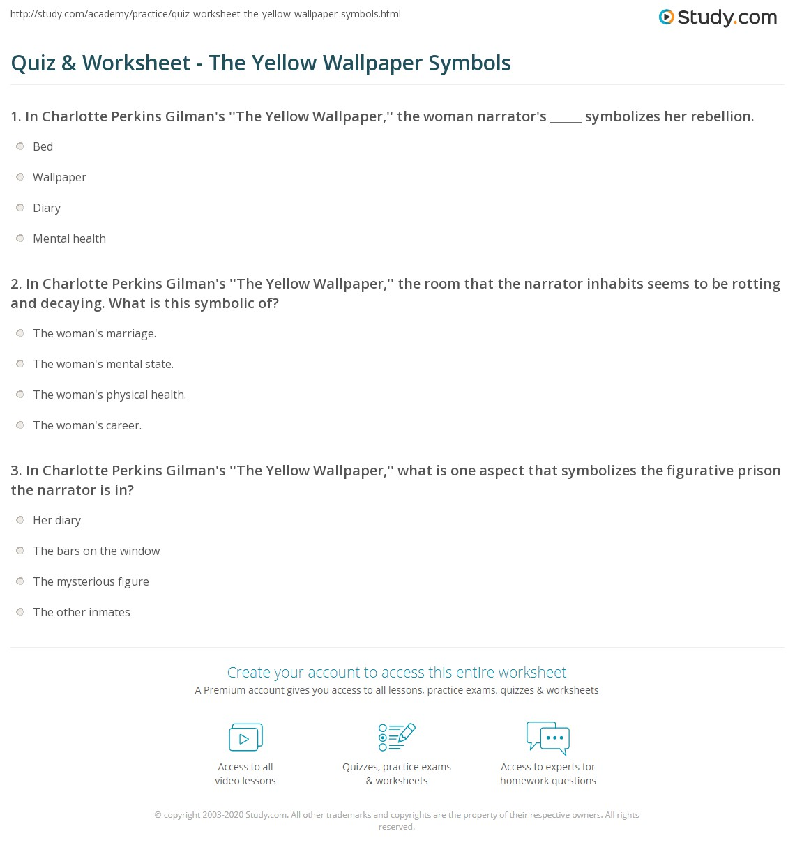 Print The Yellow Wallpaper Symbolism Worksheet