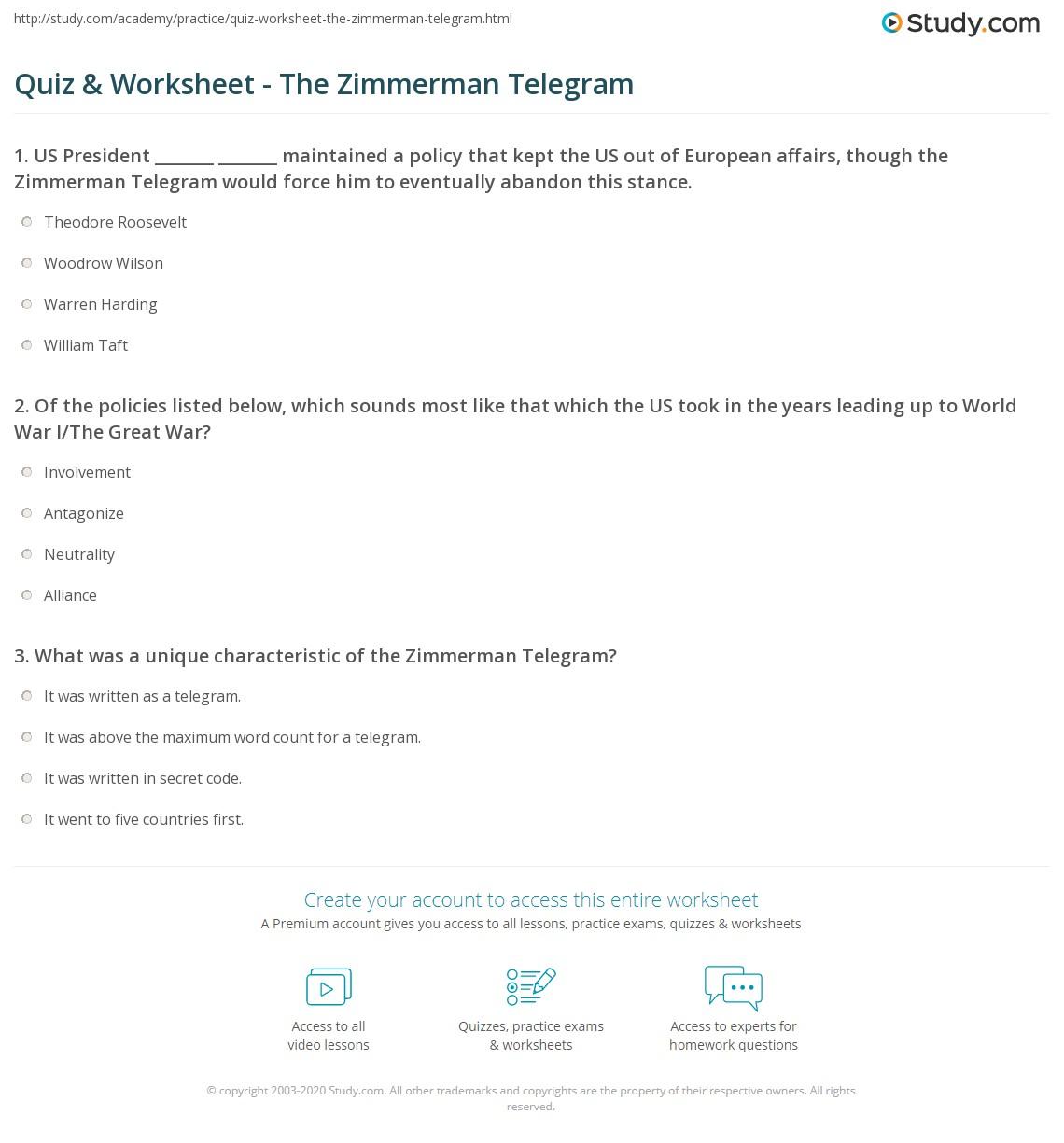 Quiz & Worksheet - The Zimmerman Telegram   Study.com