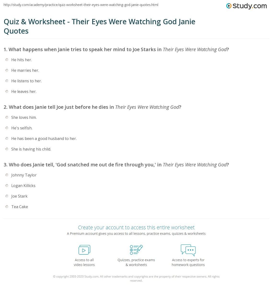 Quiz Worksheet Their Eyes Were Watching God Janie Quotes Studycom