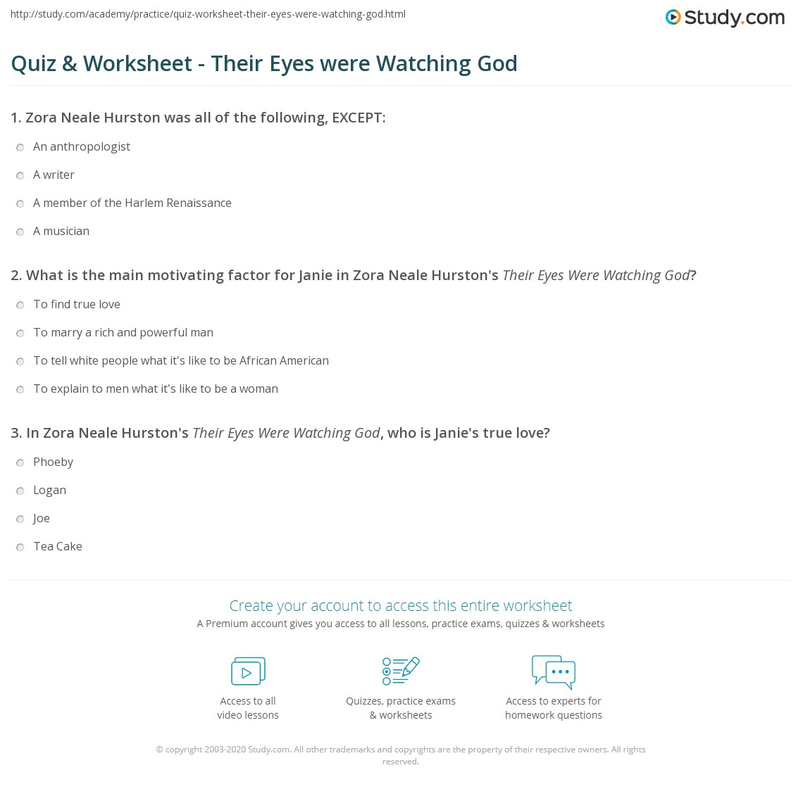quiz worksheet their eyes were watching god. Black Bedroom Furniture Sets. Home Design Ideas