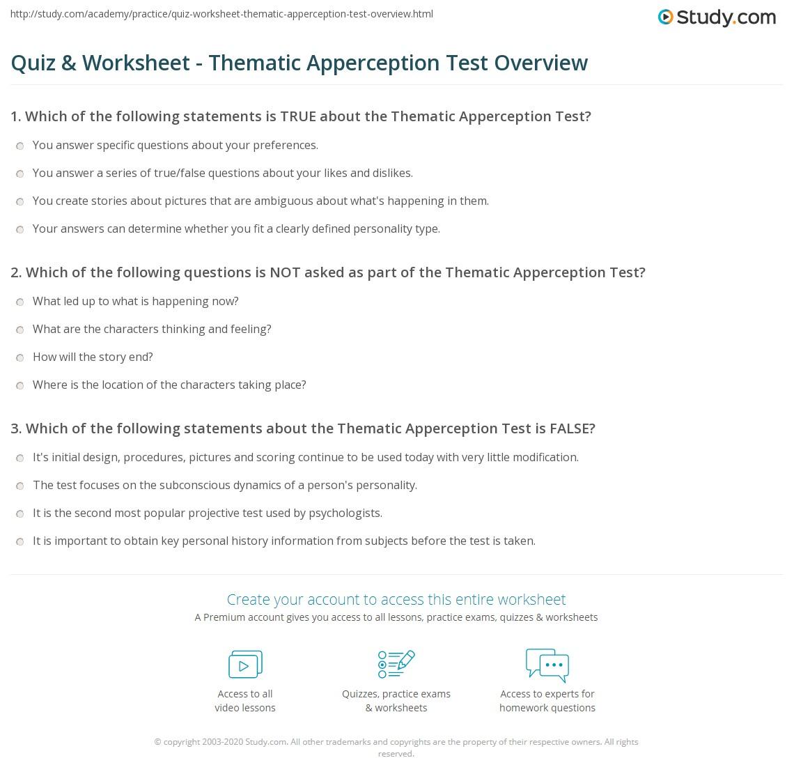 thematic apperception test interpretation example