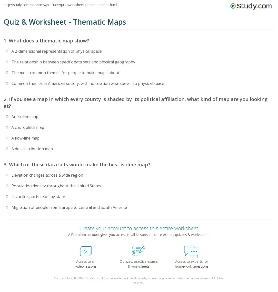 quiz worksheet thematic maps. Black Bedroom Furniture Sets. Home Design Ideas