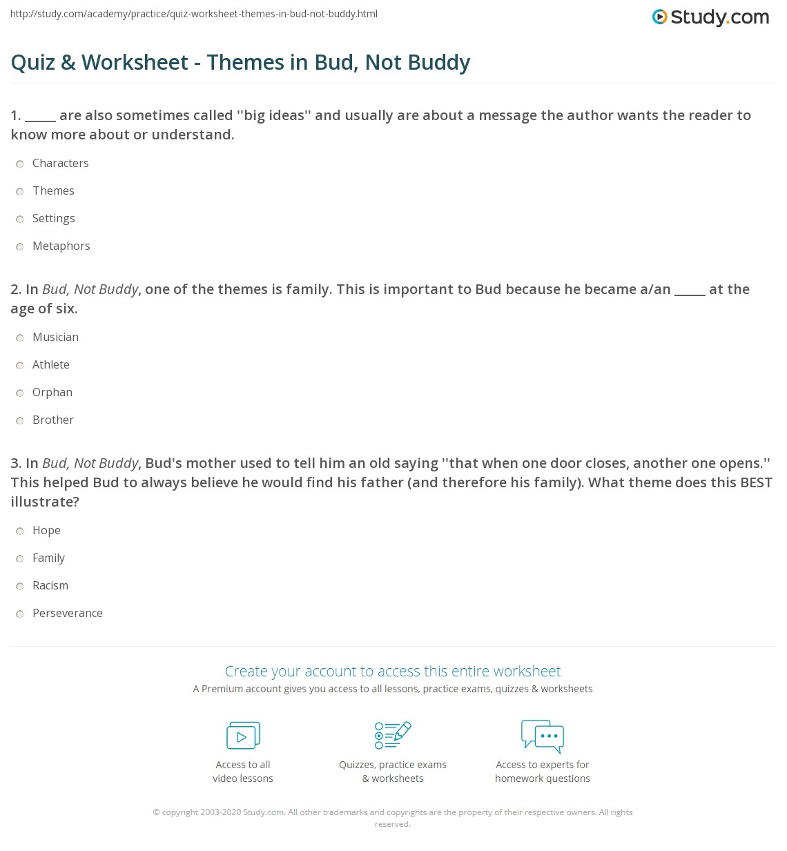 Bud not buddy worksheet answers