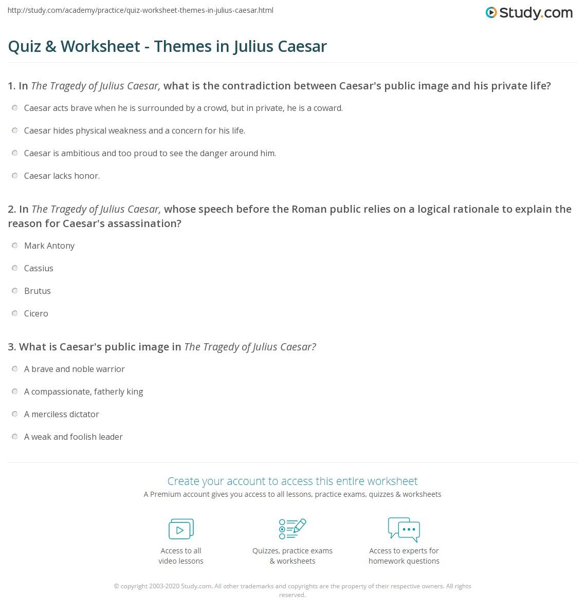 Worksheets Julius Caesar Worksheets quiz worksheet themes in julius caesar study com print worksheet