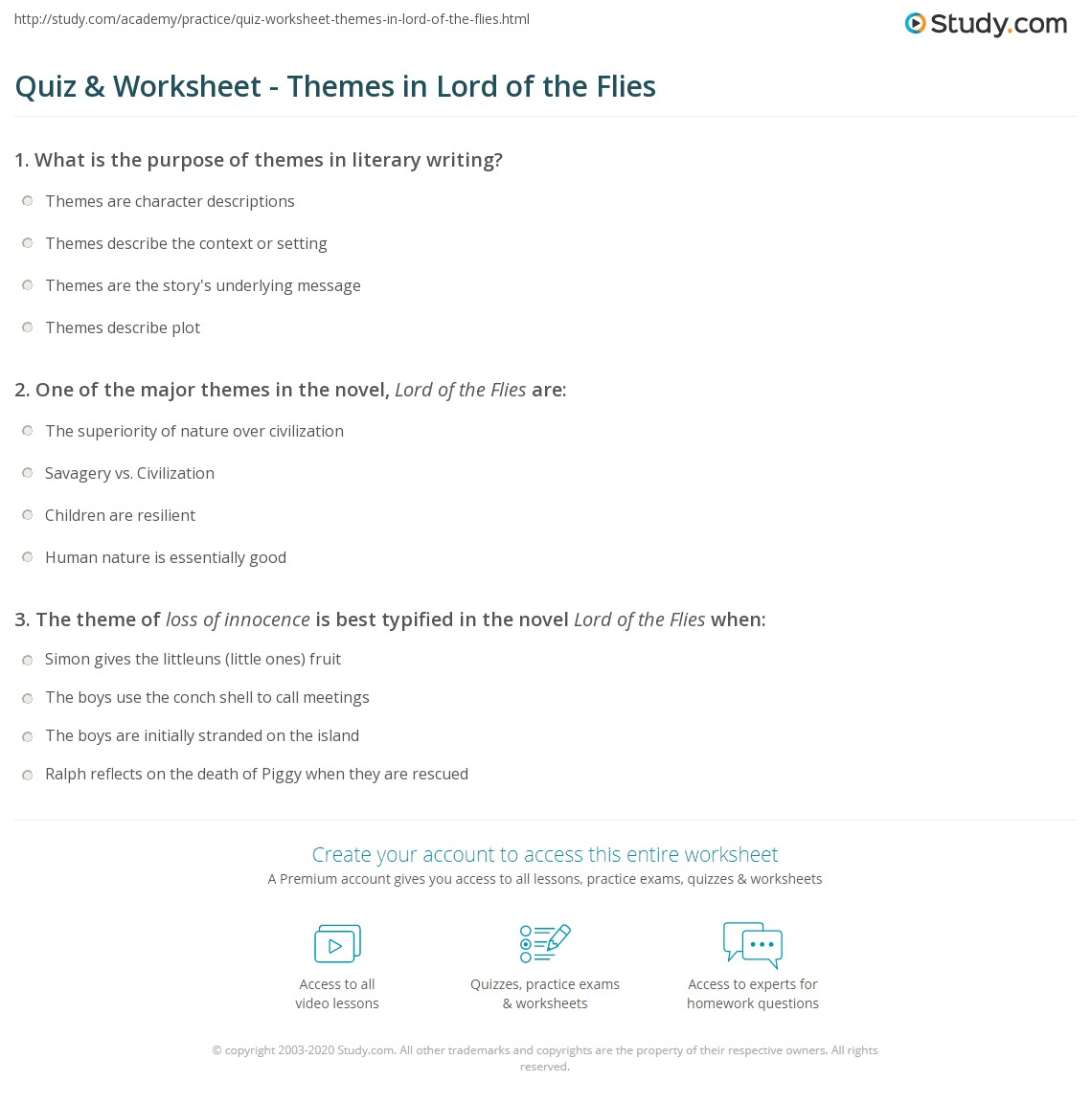 quiz worksheet themes in lord of the flies com print themes in lord of the flies worksheet