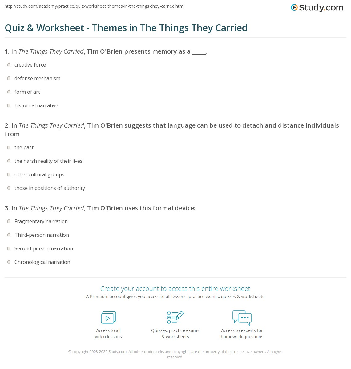 the things they carried theme questions Struggling with the themes of tim o'brien's the things they carried we've got  the quick and easy lowdown on them here.
