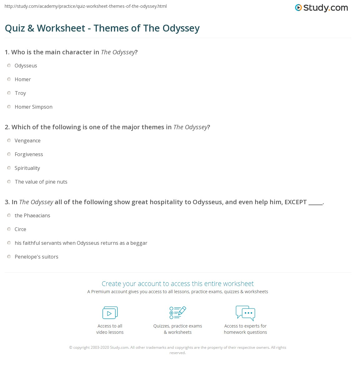 Worksheets Forgiveness Worksheets quiz worksheet themes of the odyssey study com print worksheet