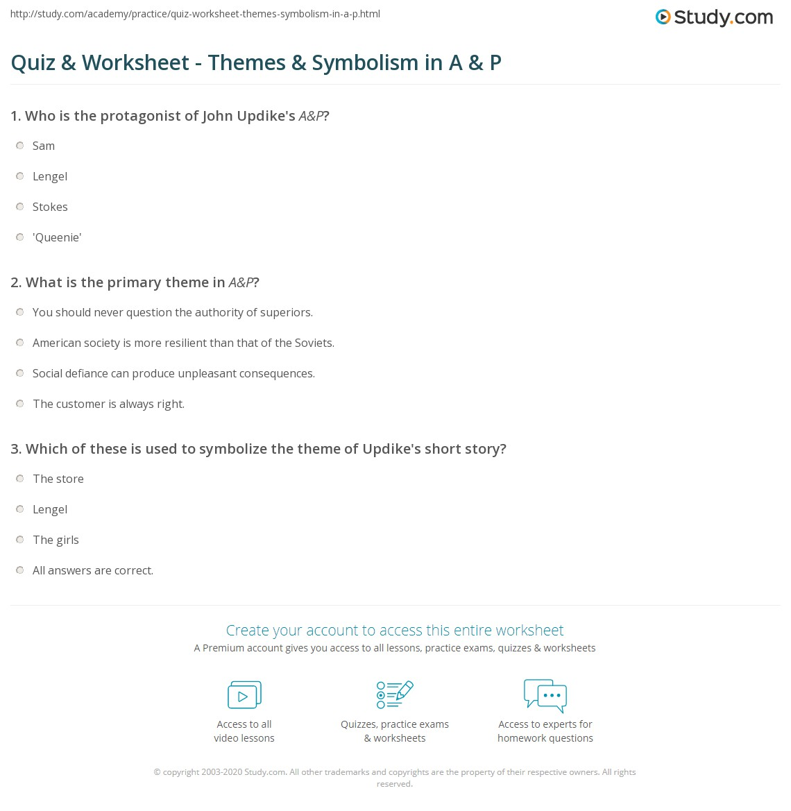 quiz worksheet themes symbolism in a p com print a p by john updike theme symbolism worksheet