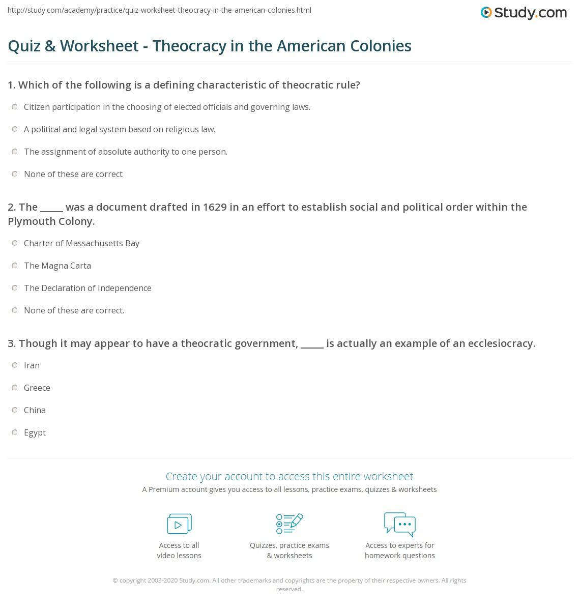 worksheet American History Worksheets quiz worksheet theocracy in the american colonies study com print definition history examples worksheet