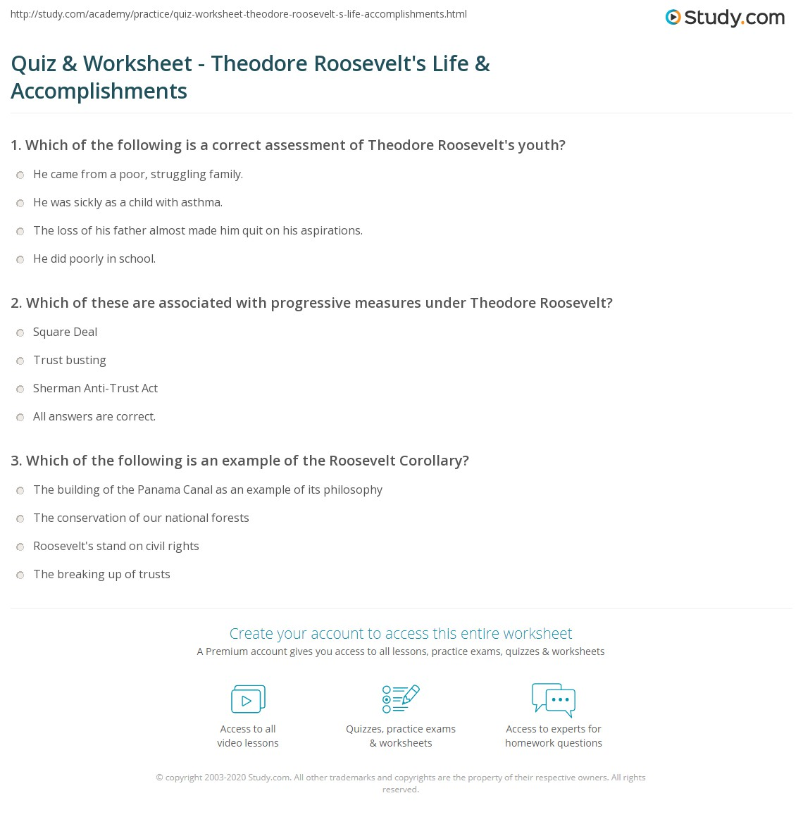 worksheet Tr 55 Worksheet quiz worksheet theodore roosevelts life accomplishments print roosevelt biography facts worksheet