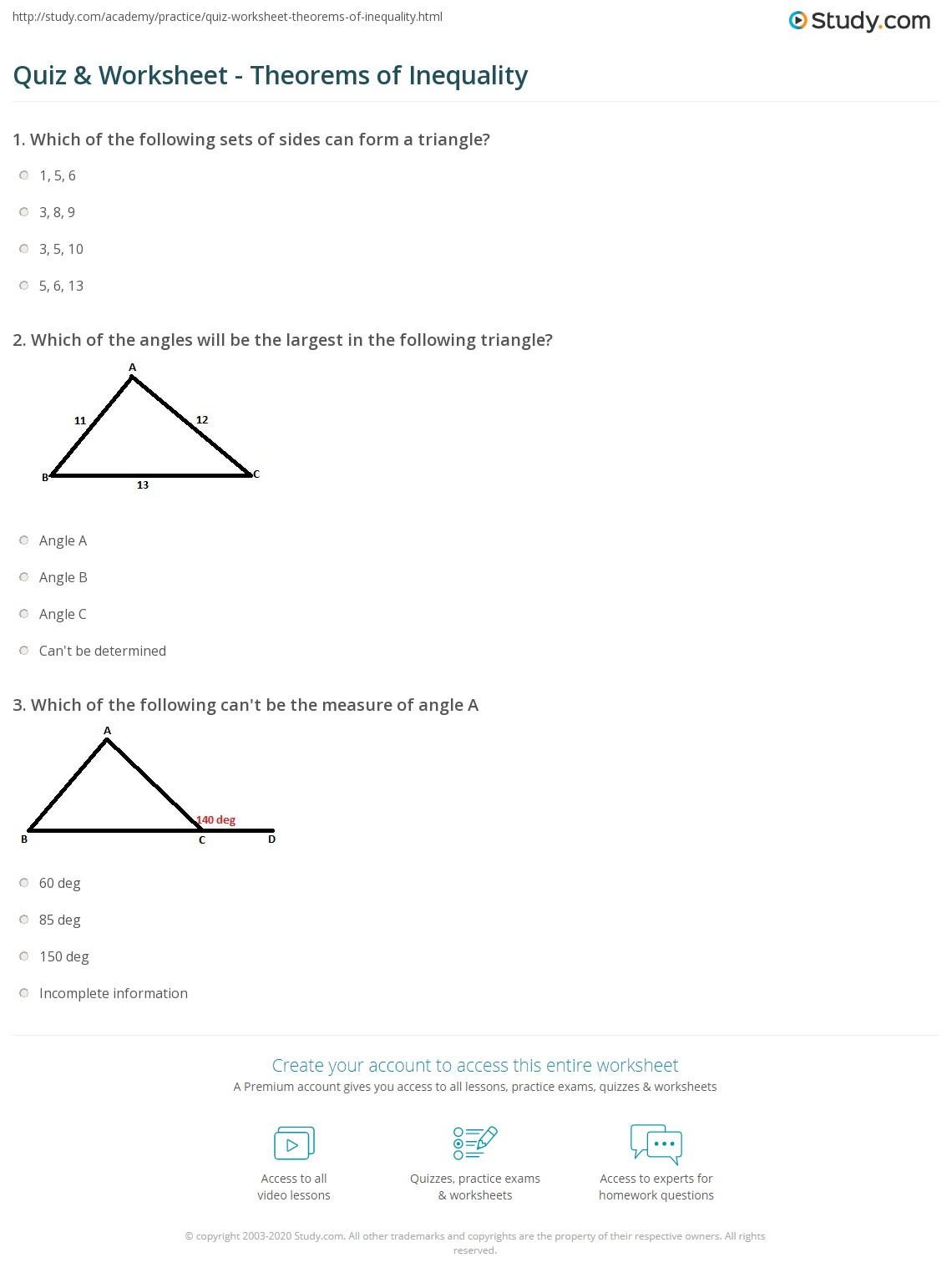 worksheet Hinge Theorem Worksheet quiz worksheet theorems of inequality study com print worksheet