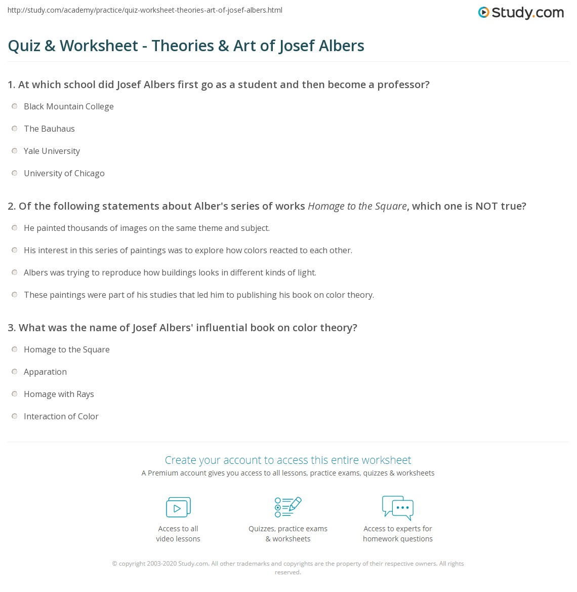 Quiz Worksheet Theories Art of Josef Albers – Color Theory Worksheets