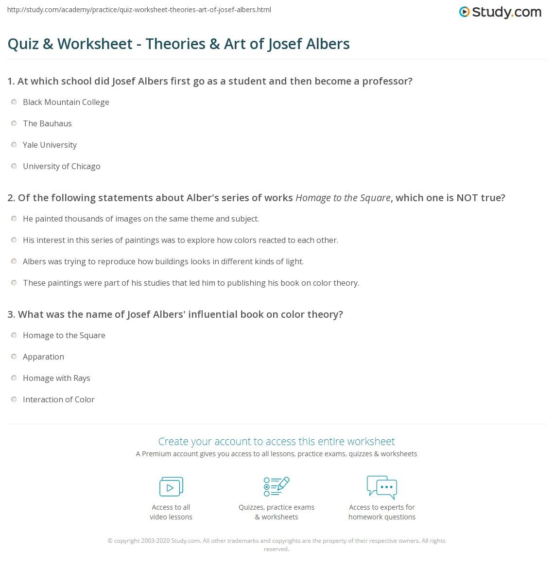 Print Josef Albers Color Theory Artwork Quotes Worksheet