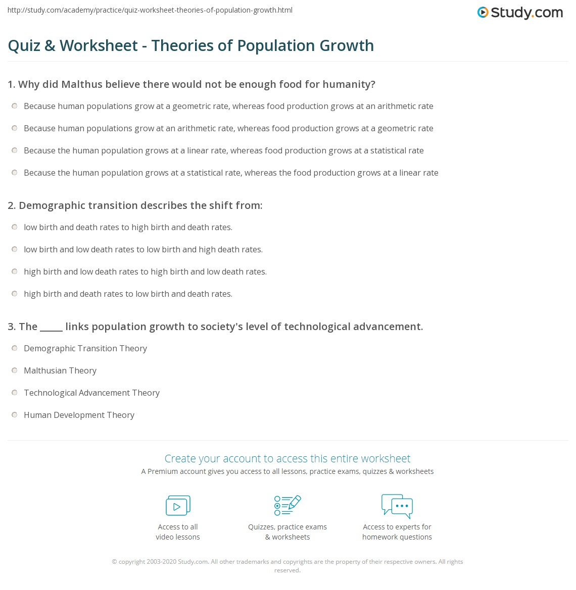 quiz worksheet theories of population growth. Black Bedroom Furniture Sets. Home Design Ideas