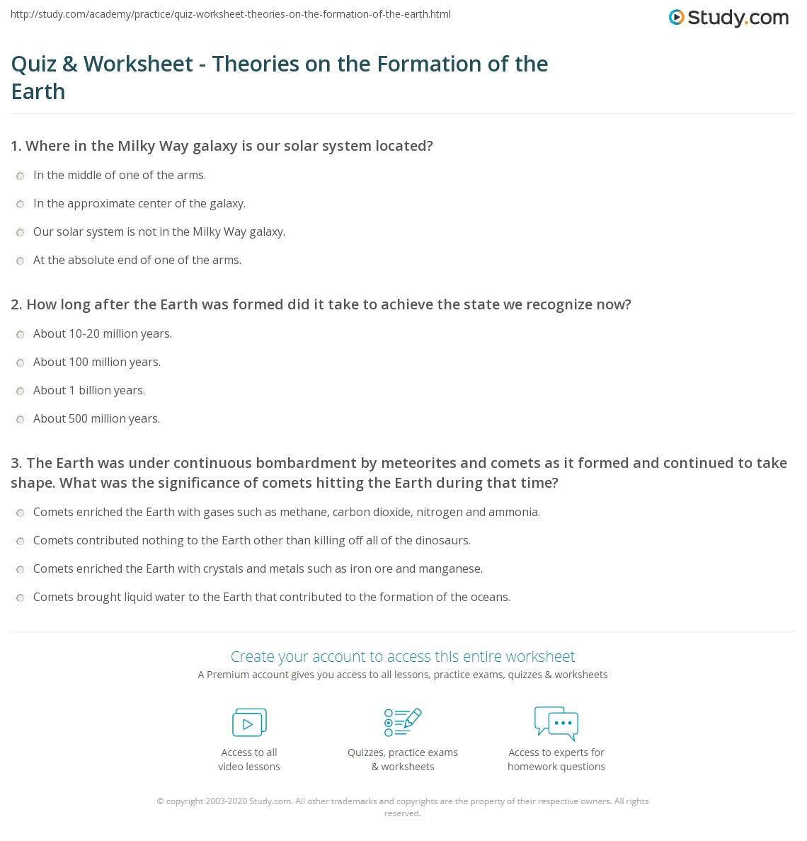 Quiz & Worksheet - Theories on the Formation of the Earth | Study.com