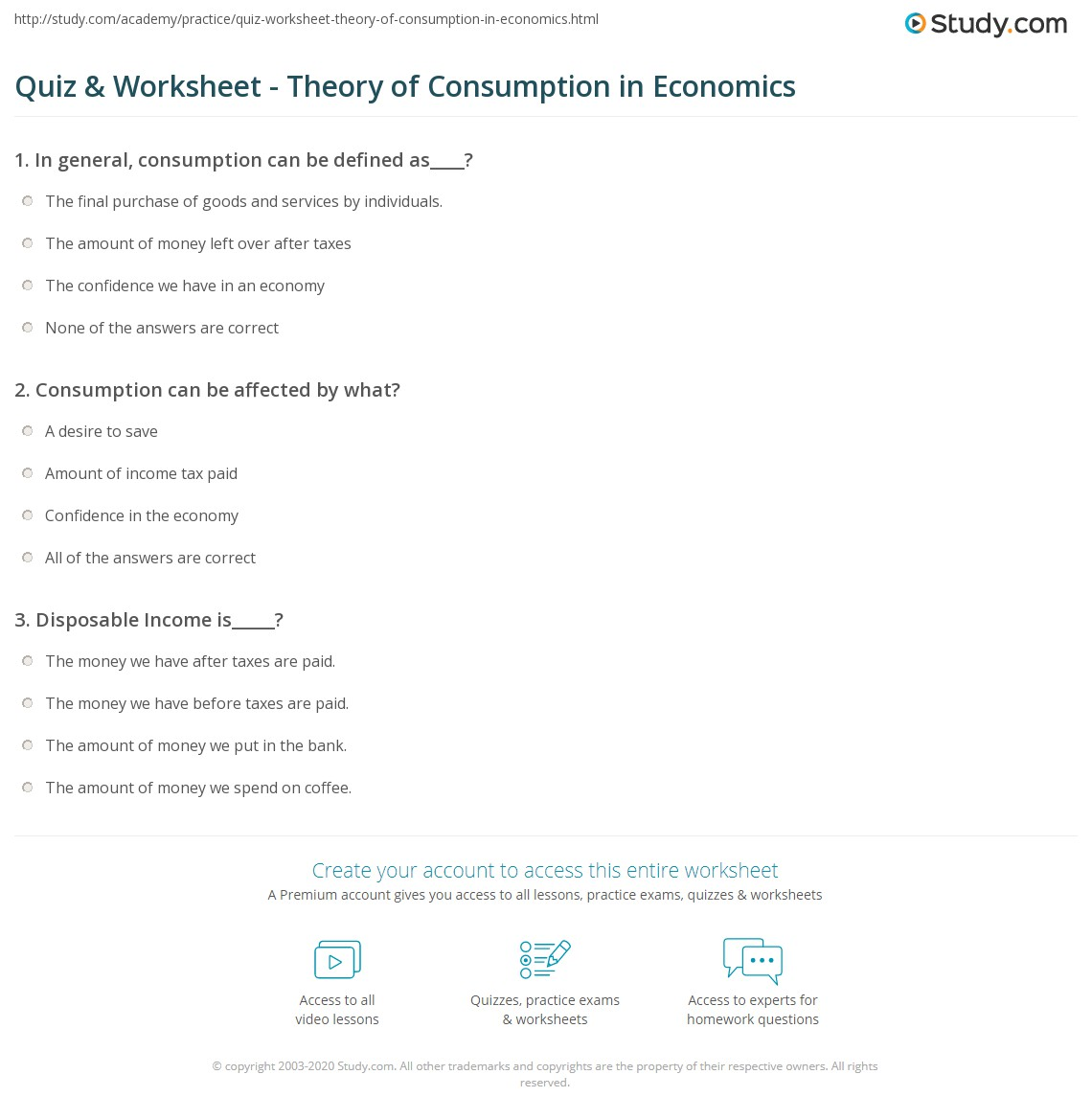 Quiz Worksheet Theory Of Consumption In Economics Study