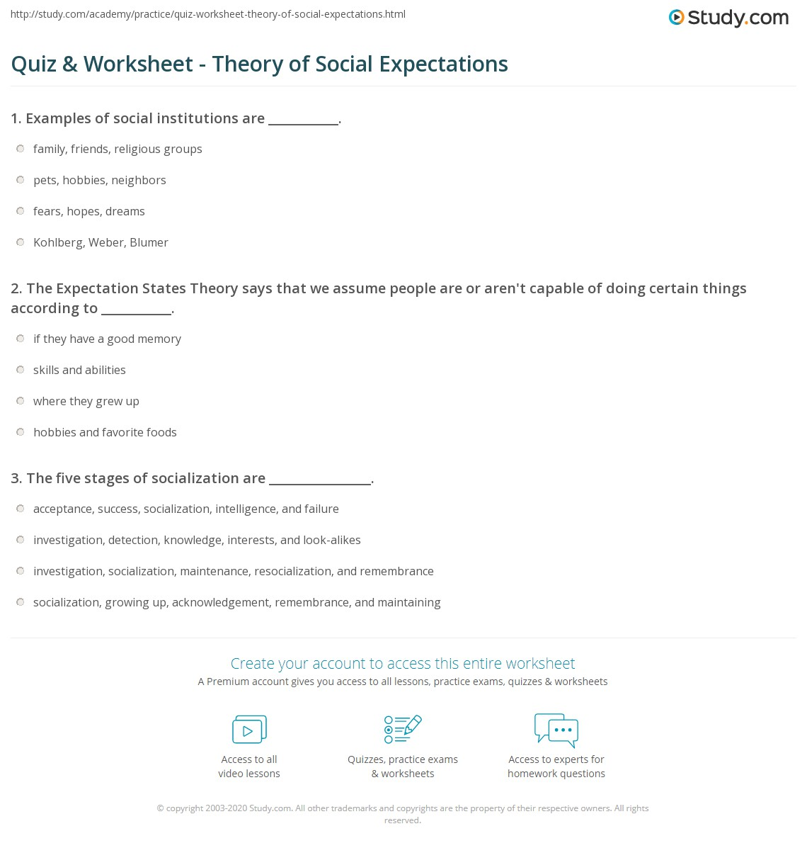 Quiz Worksheet Theory Of Social Expectations Study
