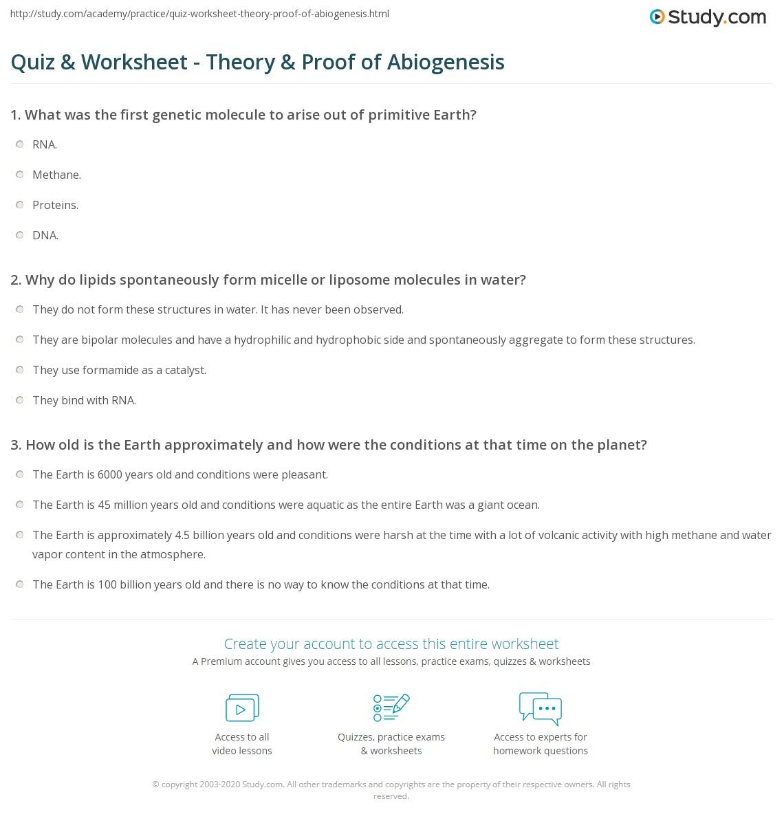 Quiz Worksheet Theory Proof of Abiogenesis – Biochemical Evidence for Evolution Worksheet