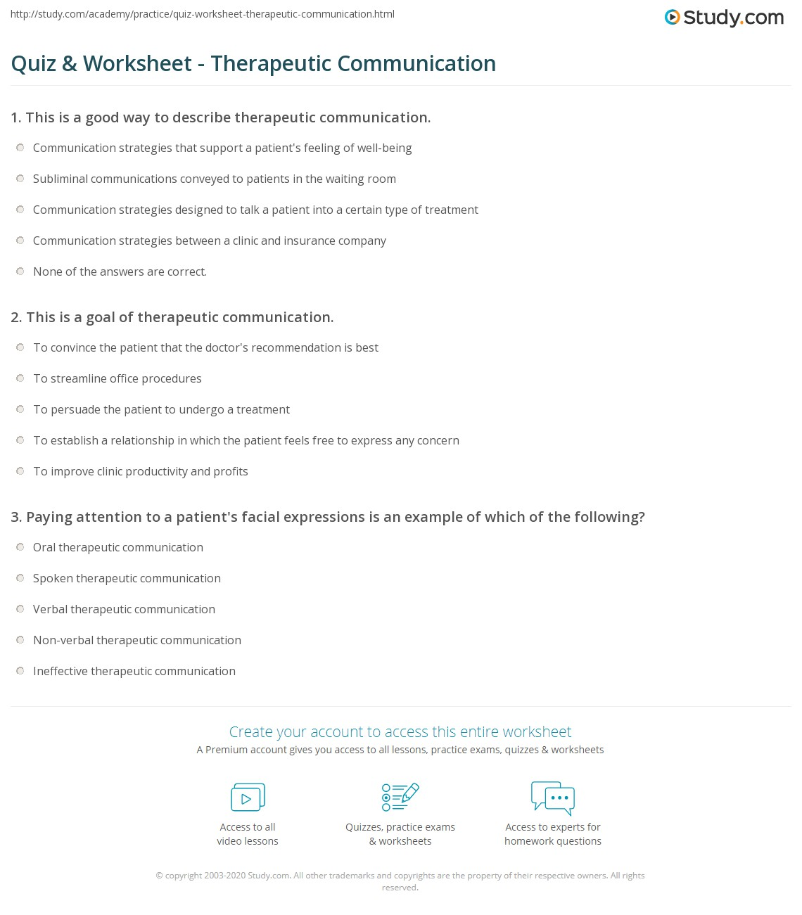 worksheet Effective Communication Worksheets Adults quiz worksheet therapeutic communication study com print definition goals types principles worksheet