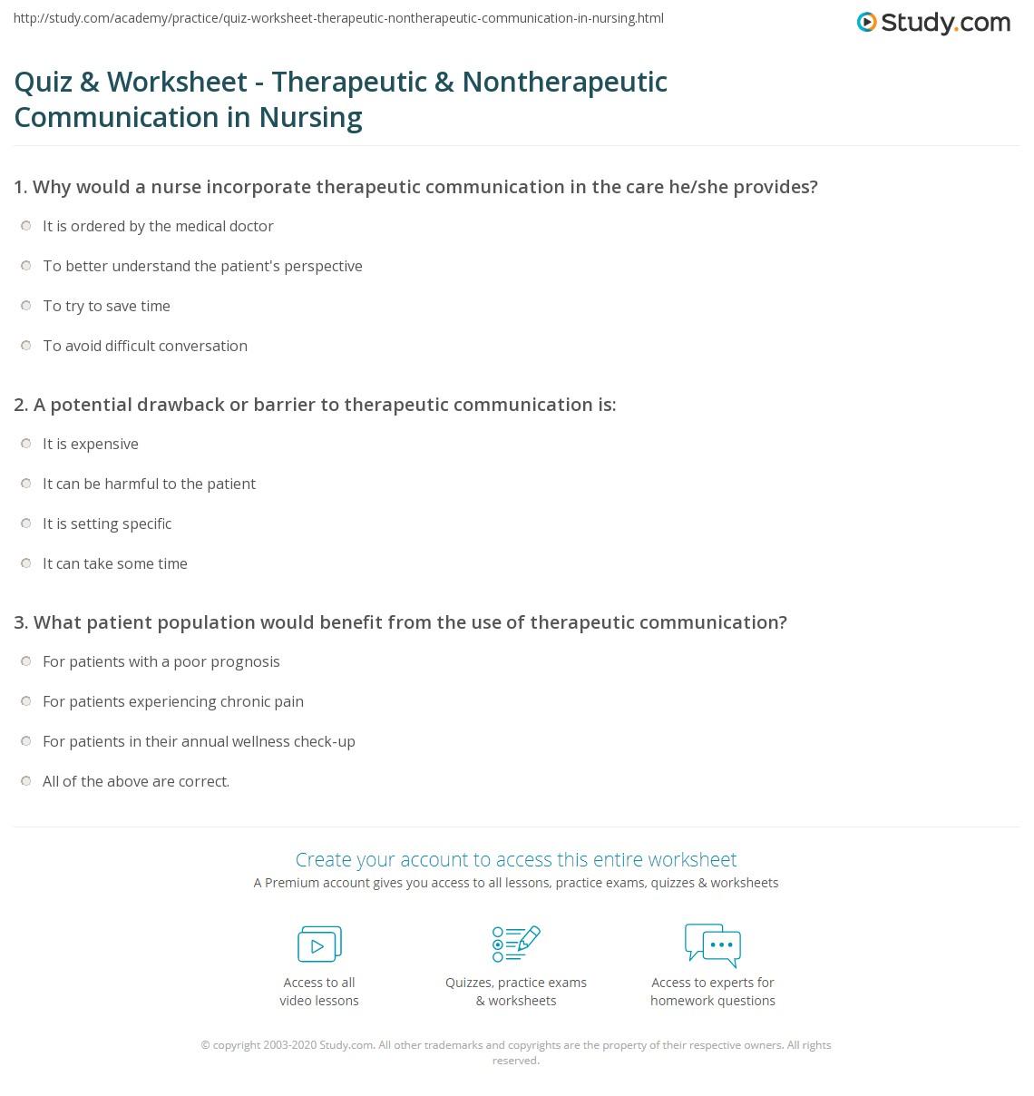 Quiz & Worksheet - Therapeutic & Nontherapeutic