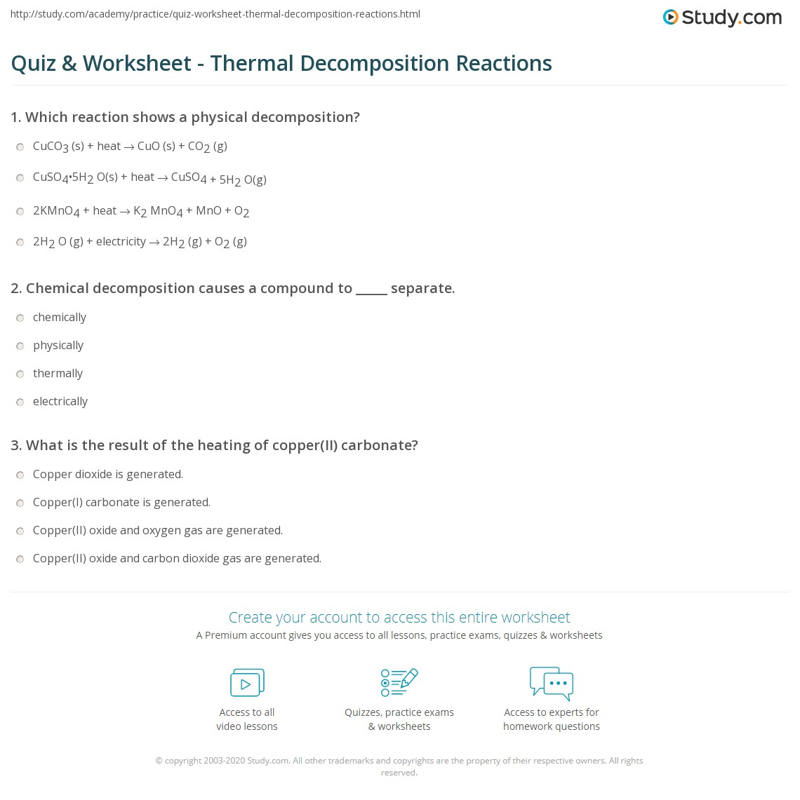 Quiz & Worksheet - Thermal Decomposition Reactions | Study.com
