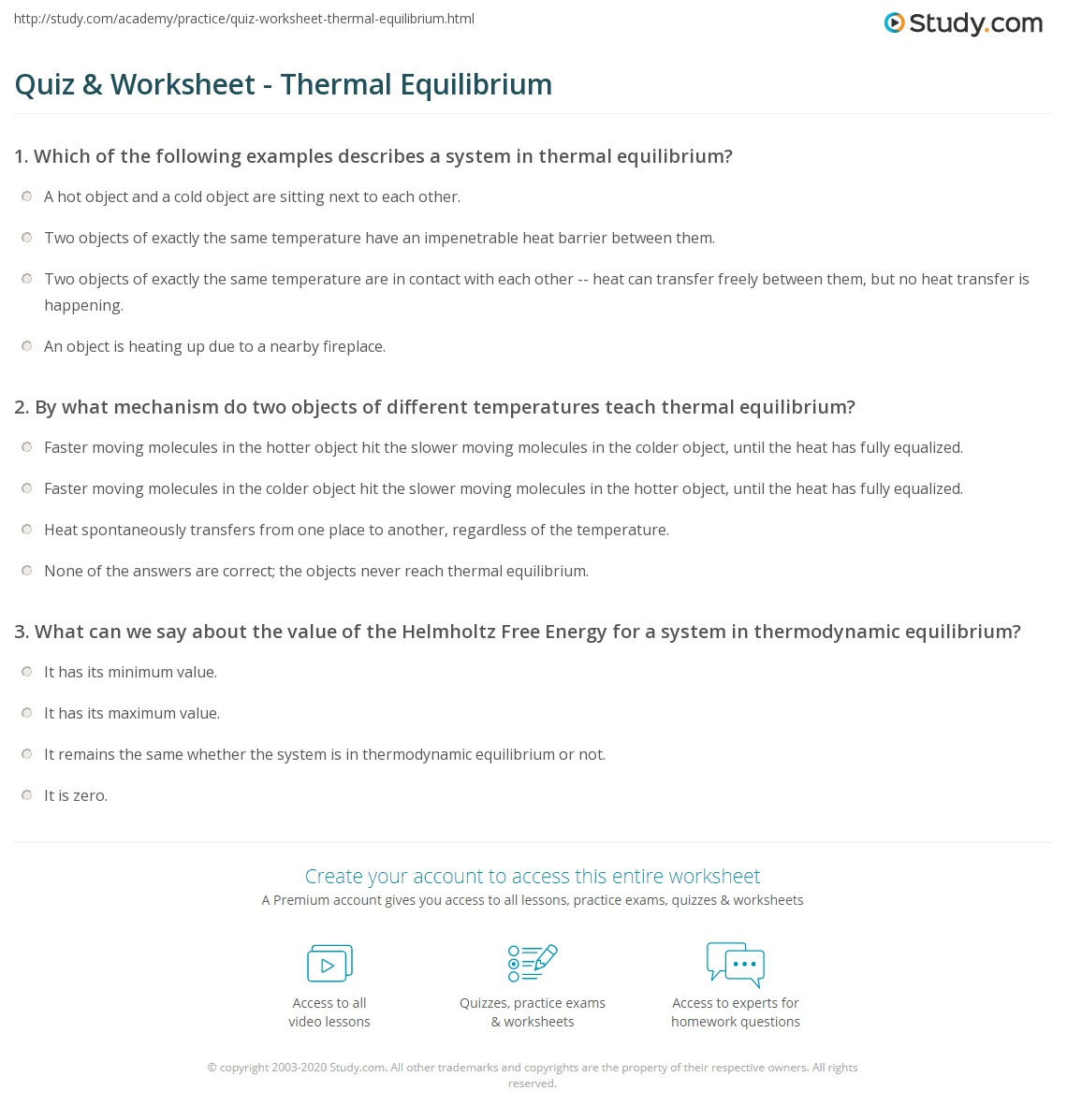 Quiz Worksheet Thermal Equilibrium Study