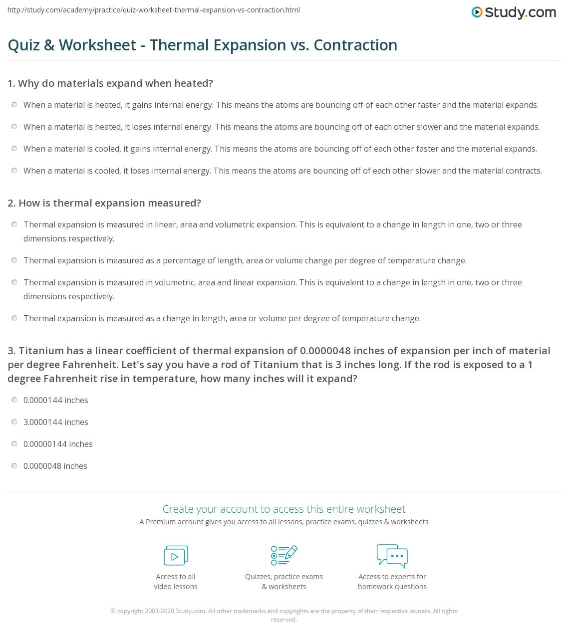 Quiz & Worksheet - Thermal Expansion vs. Contraction | Study.com