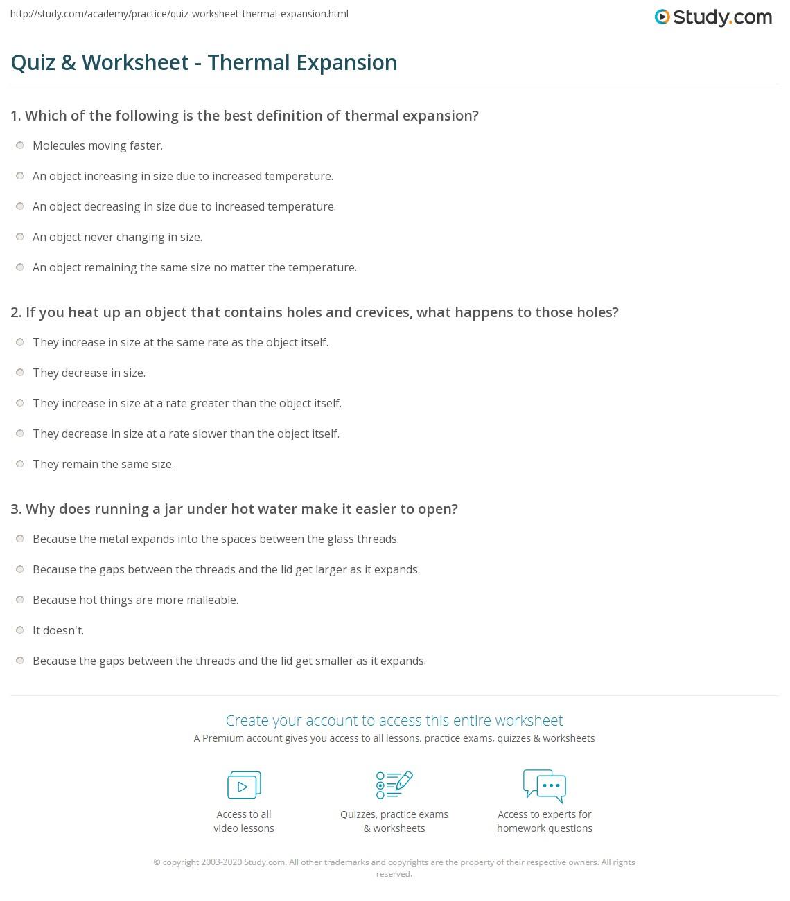quiz worksheet thermal expansion. Black Bedroom Furniture Sets. Home Design Ideas
