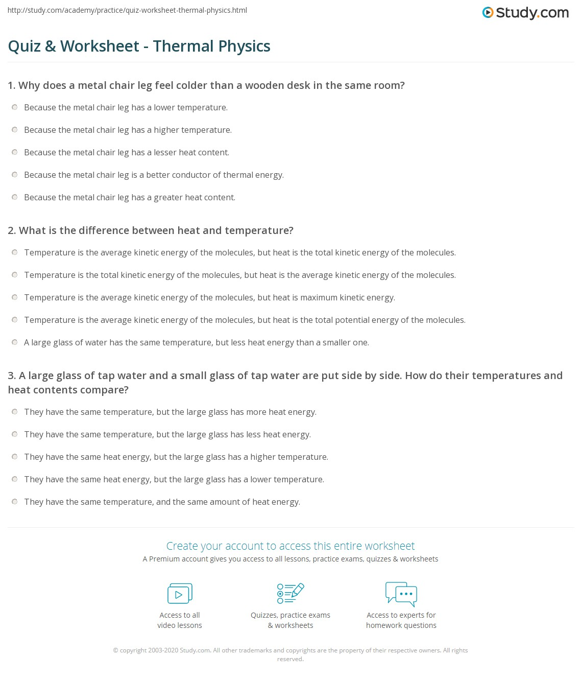 Quiz Worksheet Thermal Physics Study Com