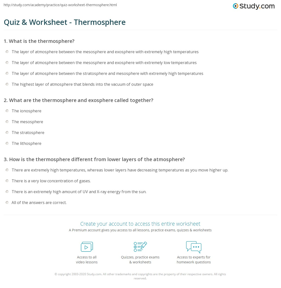 Uncategorized Layers Of The Atmosphere Worksheet quiz worksheet thermosphere study com print definition facts composition temperature worksheet