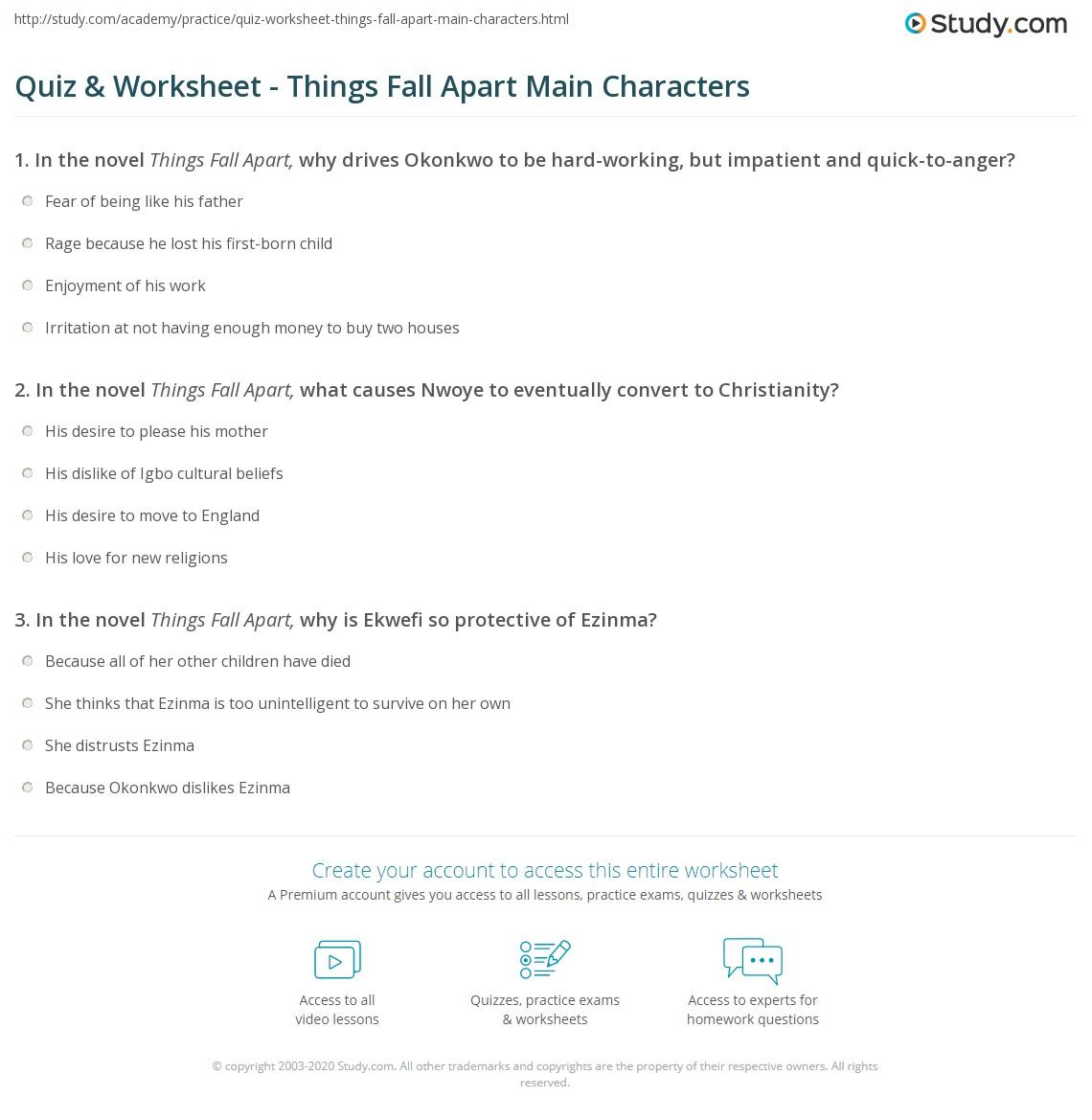 Quiz Worksheet Things Fall Apart Main Characters Study Com