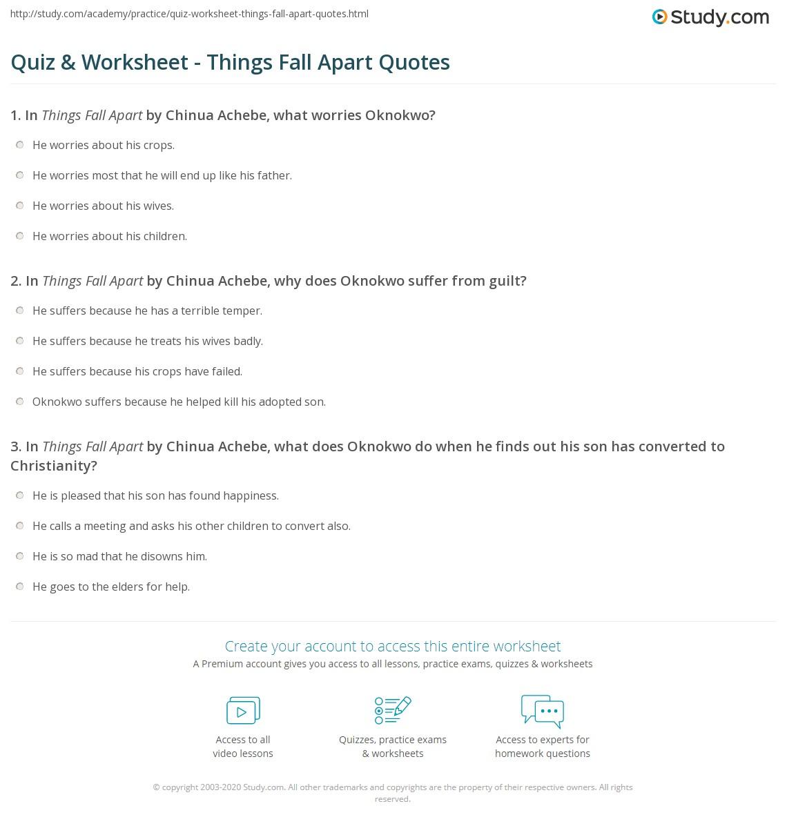 Quiz & Worksheet - Things Fall Apart Quotes | Study.com
