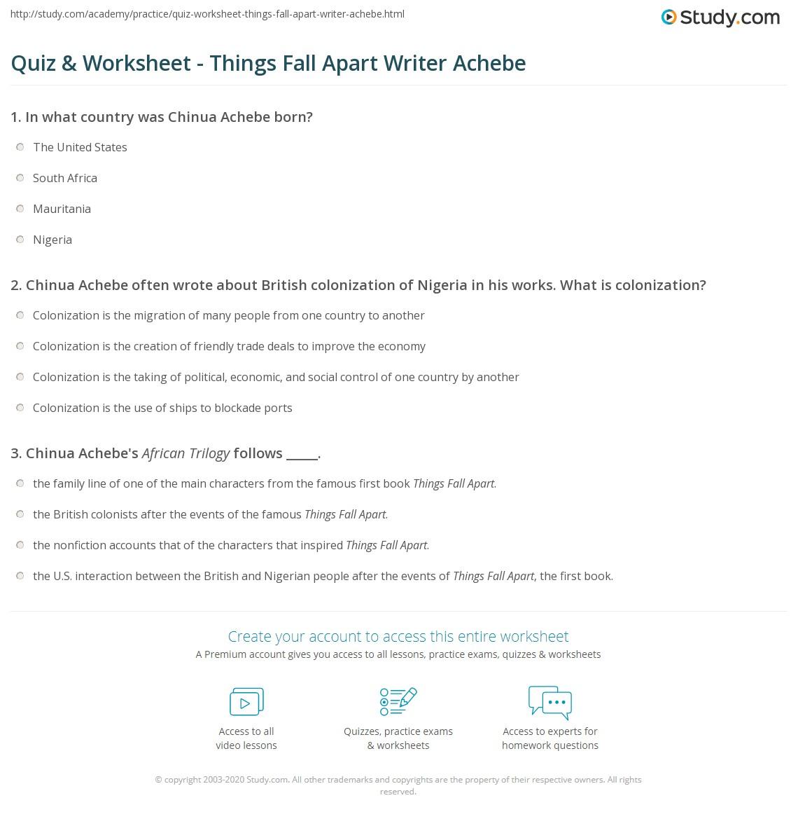 Quiz & Worksheet - Things Fall Apart Writer Achebe