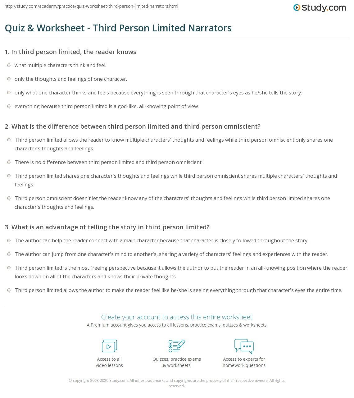 Quiz & Worksheet - Third Person Limited Narrators | Study.com