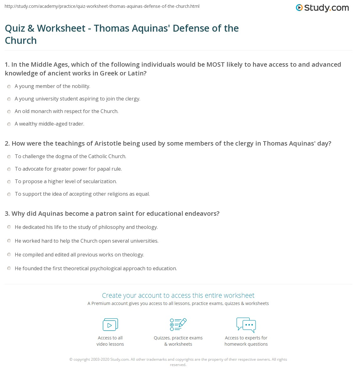 Quiz Worksheet Thomas Aquinas Defense Of The Church Study Com