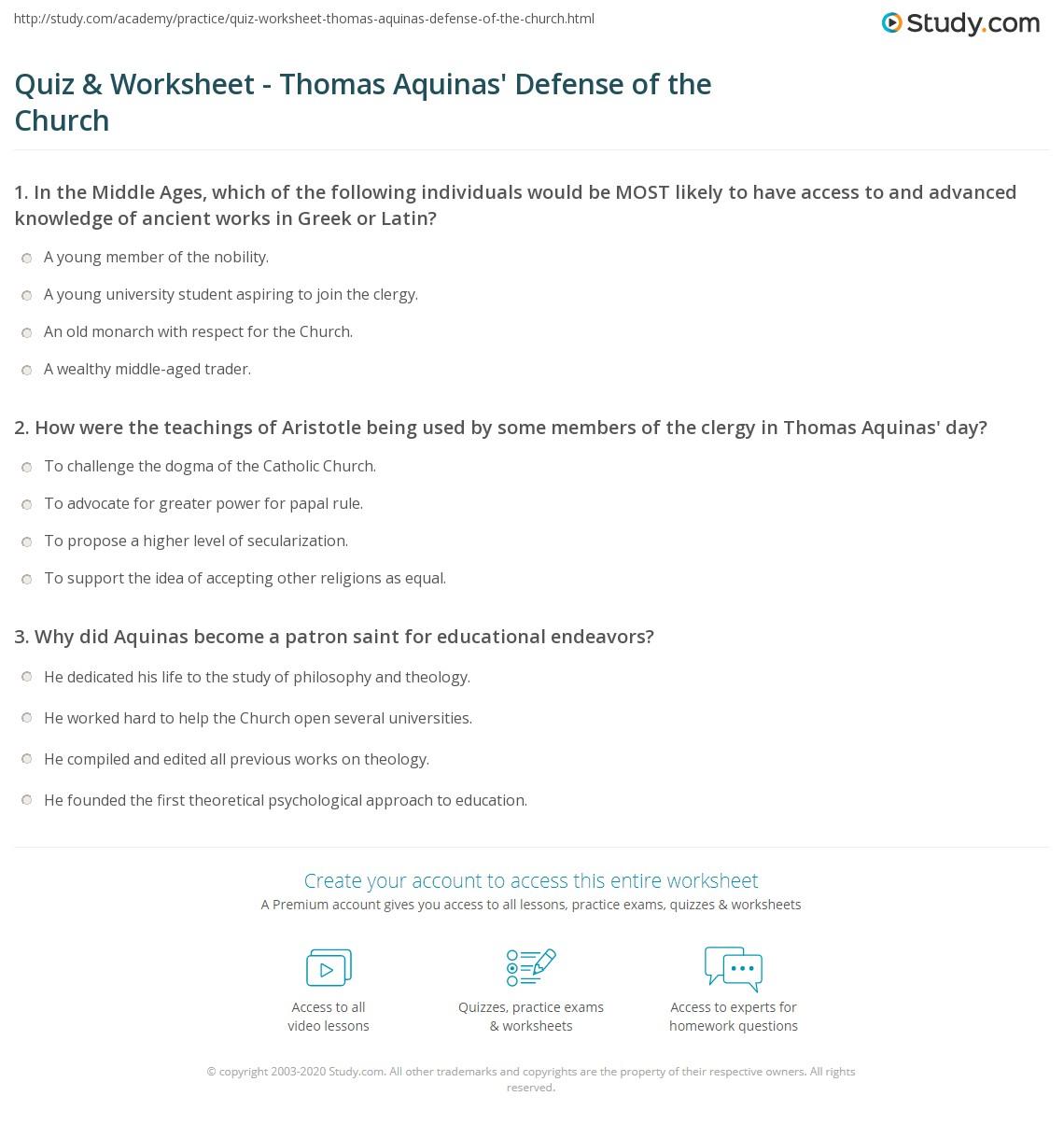 Worksheets Magna Carta Worksheet quiz worksheet thomas aquinas defense of the church study com print influence on catholic worksheet