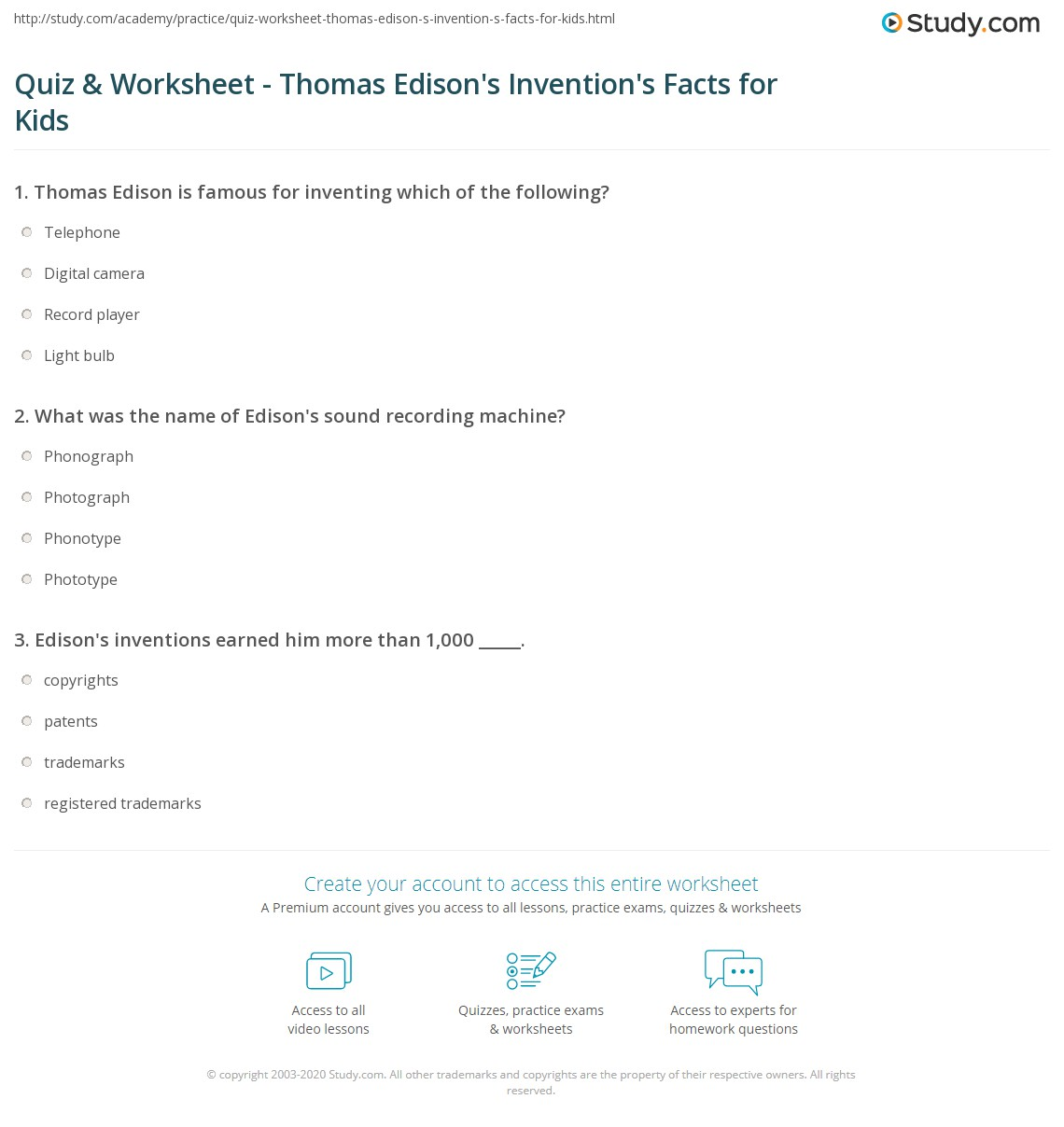 Quiz & Worksheet - Thomas Edison's Invention's Facts for Kids   Study ...