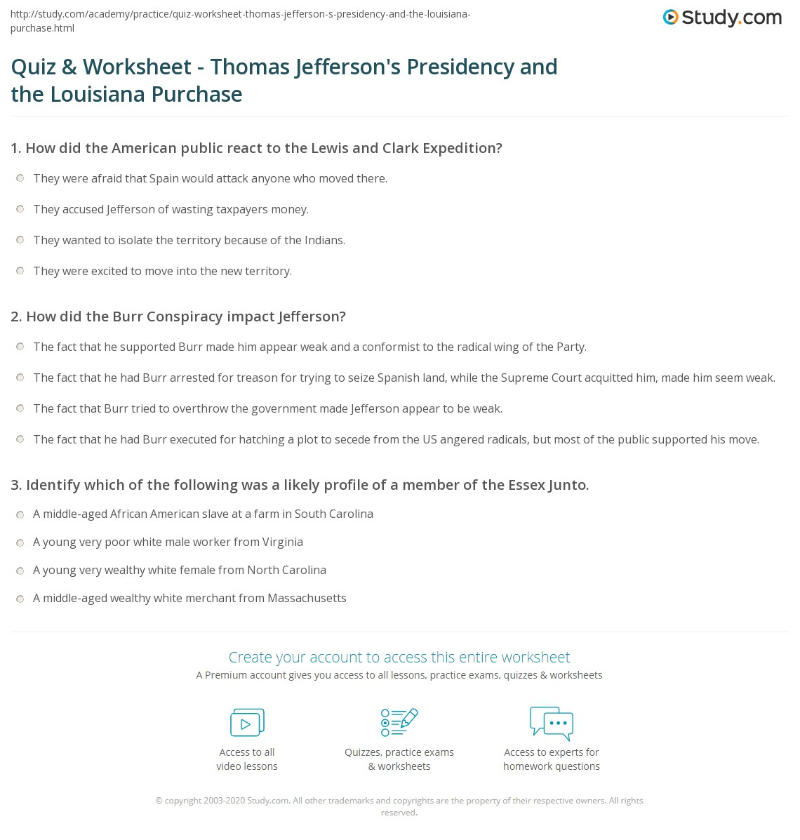 Worksheets Louisiana Purchase Activity : Quiz worksheet thomas jefferson s presidency and the