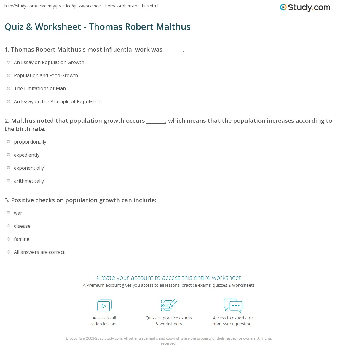 quiz worksheet thomas robert malthus com malthus noted that population growth occurs which means that the population increases according to the birth rate