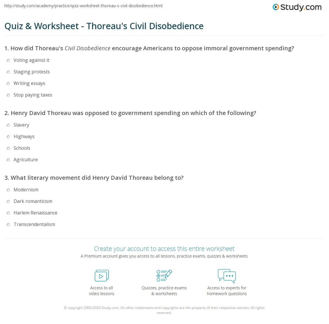 quiz worksheet thoreau s civil disobedience com print henry david thoreau s civil disobedience summary and analysis worksheet